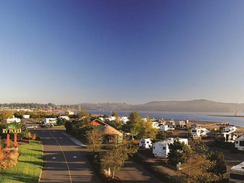 Overhead view of The Mill RV Park.