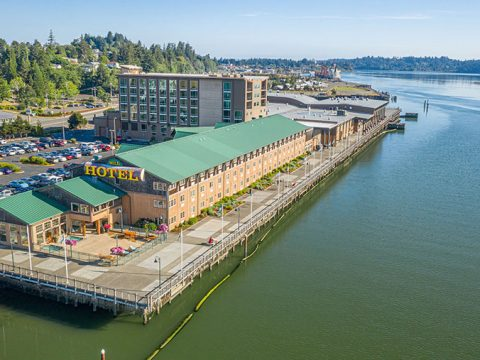 Overhead view of Coos Bay View from The Mill Casino.